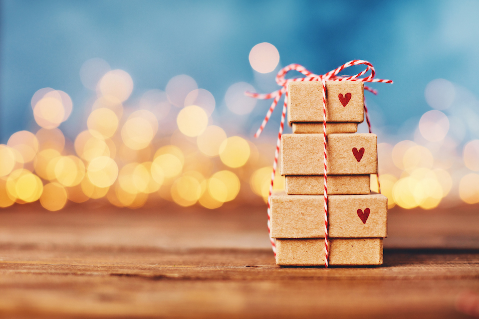 Valentine's Day background with gift stack