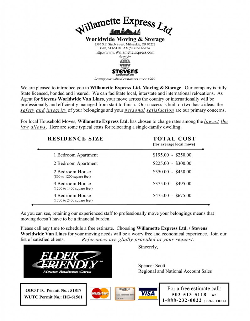 Willamette Express Pricing